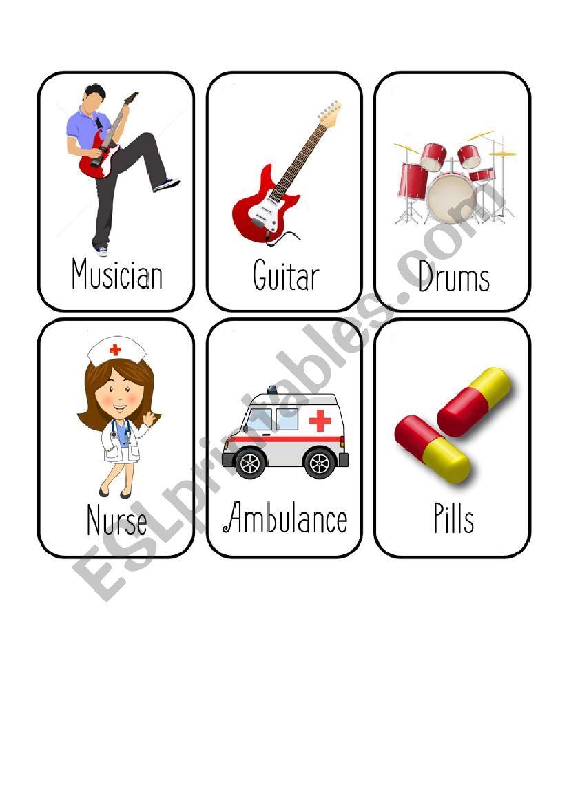 Jobs Card Game [5/8] [Musician - Nurse - Pilot - Police